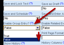 Do you want the event to appear in the Enter Data for Group event list? If not, select False