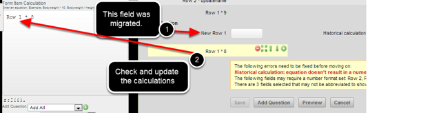 If you migrated the name of a field that is used in calculation, you will need to update the calculations