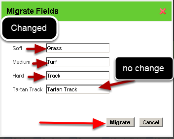 "You will be shown the existing options. Rename the options you need and click ""Migrate"""