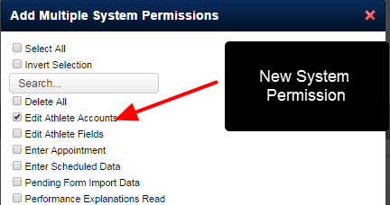 The New Edit Athlete Accounts system permission