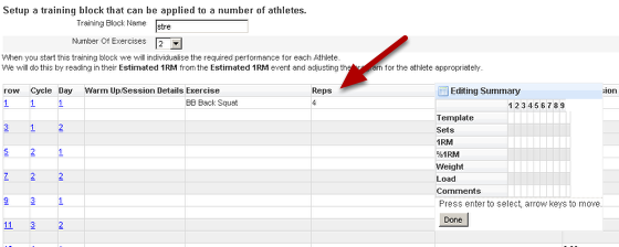 Save the changes and see how the form functions in a training block. You may have forgotten to condense a field, or the summary field calculation may need adjusting. The example here shows that Reps hasn't been compressed.