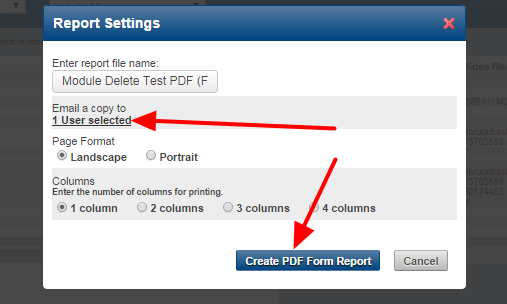 The user can be selected and the report can be generated.
