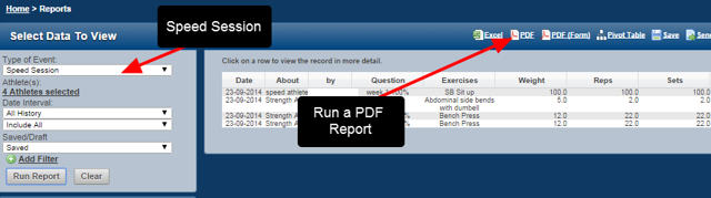 A user has access to all Athletes and all Event Forms. They run a Speed Session Report for All Athletes and they want to send it to another coach.