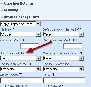 Summary Field: sets up whether the field appears on the Sidebar and also in reports such as the Performance Summary Reports