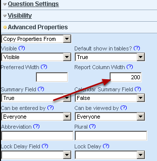 Setting the Report Column Width of the field when they appear during data entry (for fields which are in table and matrix formats) and the column width on the athlete history and reports pages.