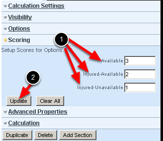 YOU MUST set up the Score the options from best (highest) to worst (lowerst score) or the status will not work correctly.