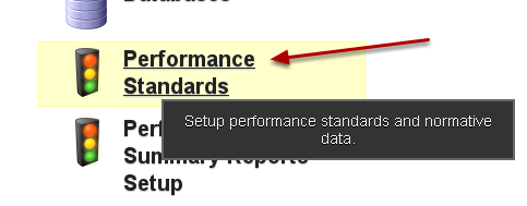 Now, create a Performance Standard to colour the options that you have set up