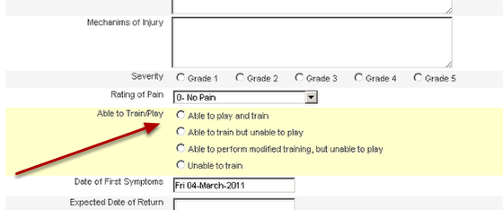 Set up the field that will be the status field in your form. Depending on how your injury/illness form is developed up you can use a use either a single selection field (shown here), a calculation field (using return to play dates), or a table calculation (from injury status within a table)