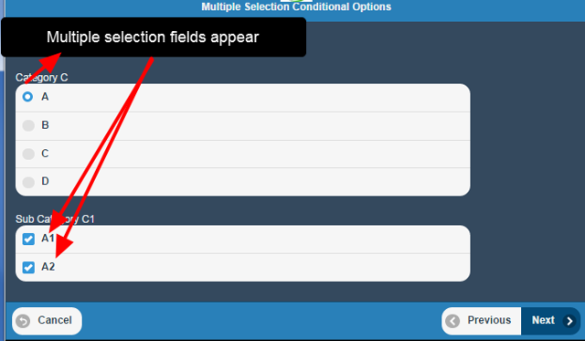Multiple selection conditional options based on a single option field are supported