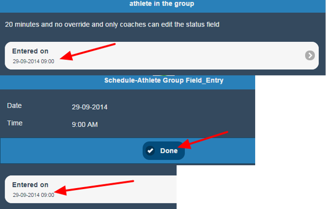 The Date and Time fields are not editable on iOS (this is because conflicts cannot be detected on iOS)