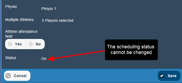 Scheduling Status cannot be edited on the Mobile application