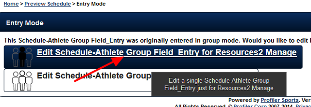 Open the entry for that athlete ONLY, e.g., for a single athlete so that it appears in single entry mode