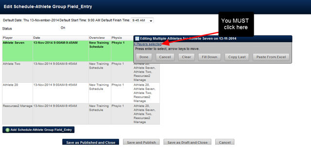 A Table should appear with the listed athletes on each row. In the FIRST ROW, click on the athlete fields cell