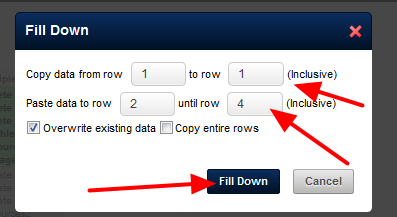 The Fill Down Pop-Up box will outline that it will copy the data from the selected field in row 1 (e.g., the athletes field) and to the rest of the athletes fields in the table