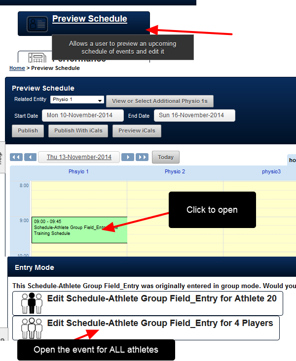 If additional athletes need to be added or removed, go to the Preview Schedule Module and open the entry in group mode;  you can also open the entry from the calendar page