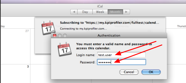 Enter in your user name and password (from Smartabase, not your calendar system)