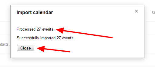 Confirmation of the imported calendar, and the number of imported events, should appear