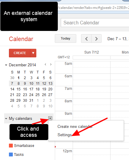 On you external Calendar, click on your settings