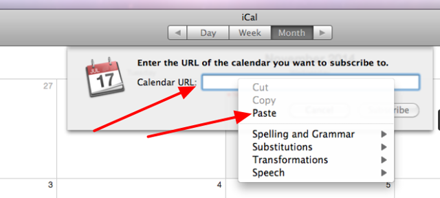 Click in the Calendar URL text area and click on Paste to paste in the copied url