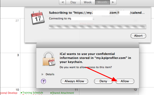 Allow the iCal to access the confidential information