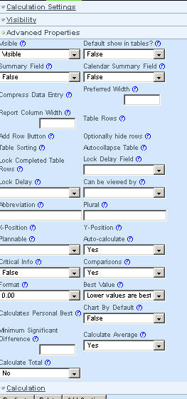 To add in one of these fields, click on the field, name it add in a description and the set up any Advanced properties field (such as show in table, format, or higher and lower etc)