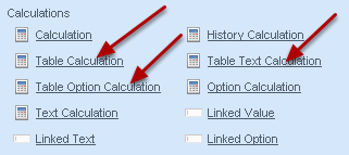 You can generate Numeric, Option and Text calculations for table columns