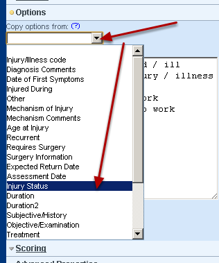 Copy the options from the existing option field that you are using in your calculation and click update for the options