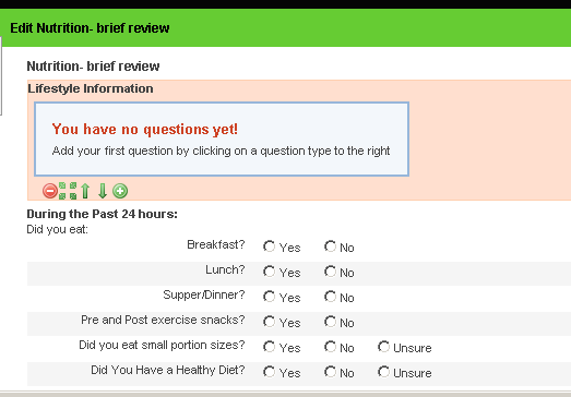 To Link a Profile numeric field into an event form, open the event form (the example here is a nutrition form)