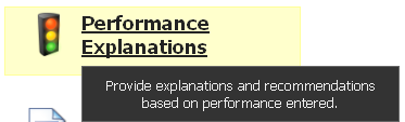 Access existing Performance Explanations or create a new Performance Explanation