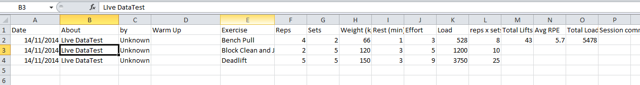 The field are displayed in the same layout as a csv. downloaded from the Athlete History or Reports Pages.