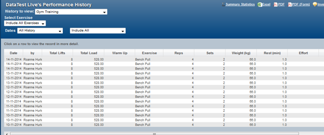 On the Athlete History and Reports pages, a csv. file of the data can be generated