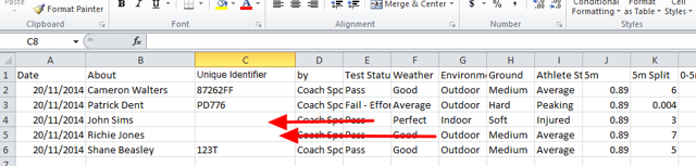 N.B. If a Uuid is NOT entered for each athlete on the csv spreadsheet, then the data will not be able to be imported for the athletes. The example here shows how the import will FAIL for two users without it!