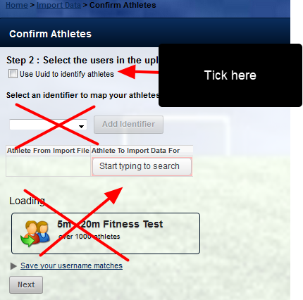 "To import the data using ID to match users, tick the ""Use Uuid to identify athletes"" selection."