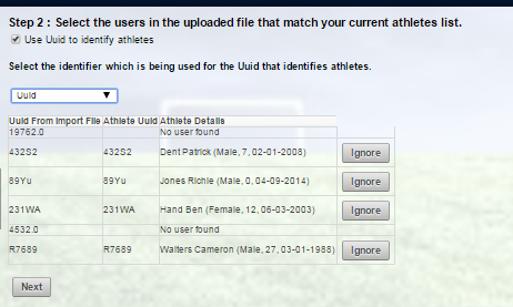 The ID from the imported file will be displayed and the Athlete ID (Organisational or Smartabase ID) and the athlete with that ID will appear in the Athlete Uuid and Athlete Details Columns