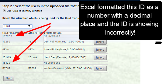 "If there is no corresponding ID to the ID on the import file, the details will display ""No user found""."