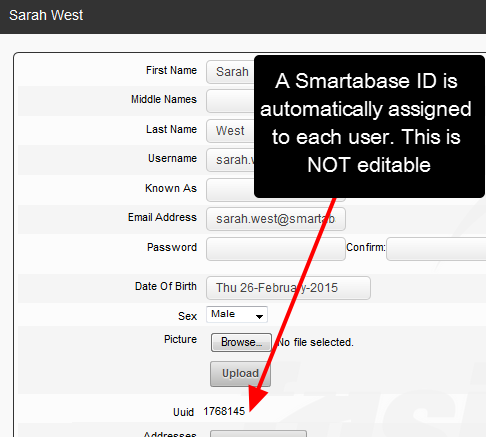 An ID will appear on the account page for each user
