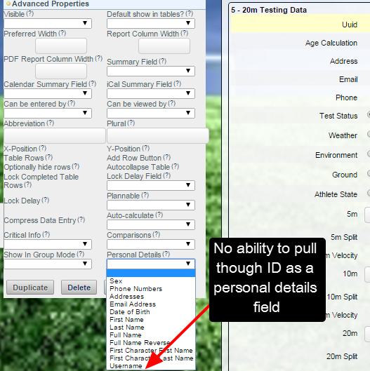 In the Form Builder, ID is not available as personal details field