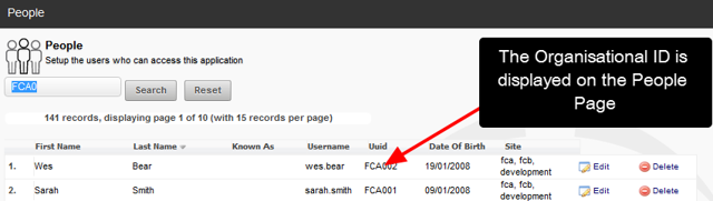 A ID column appears on the People Page view and the Organisational ID is displayed