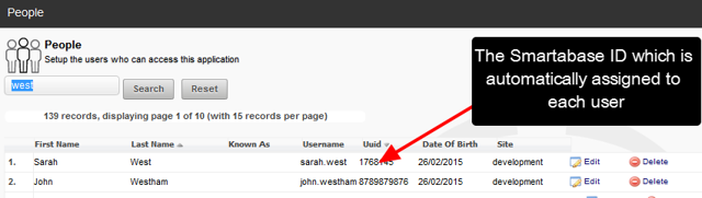A ID column appears on the People Page view and the Smartabase ID is displayed