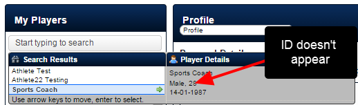 No ID will appears in the Player Details Search Box pop up