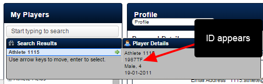 ID will appear in the Player Details Search Box pop up
