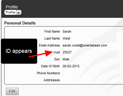 ID is displayed on the Athlete Profile Page Personal Details fields