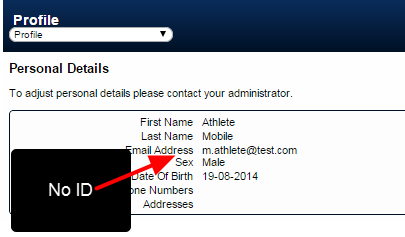 No ID is displayed on the Athlete Profile Personal Details fields