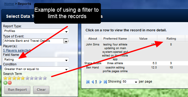 Once a Profile Form is selected, filters can be applied based on a field within the Profile Form