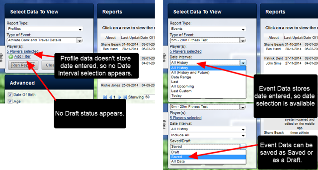 The same Event Data Type Report functionality is available to use with the Profile Data. However, as no date tracking or draft status is used for Profile forms, these are not available.