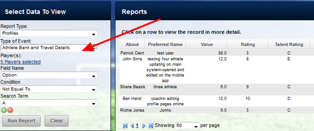When the saved Profile Report is clicked, the Profile Report Loads.