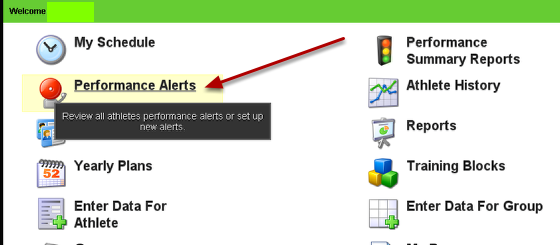 The Performance Alerts are all set up on the actual application, and NOT in the builder.