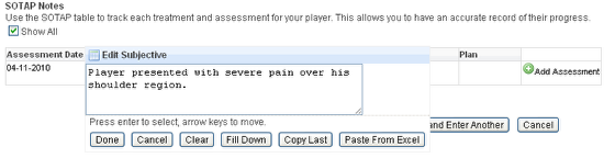 Click in each cell in the table and enter in the relevant assessment information for the player in that row