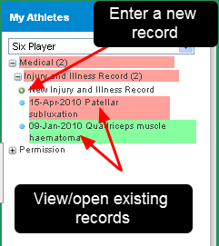 Entering/Reviewing Player Information using the Athlete Sidebar Feature