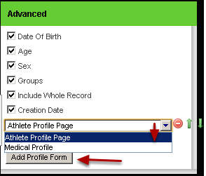 "To Include specific Profile Data click on the ""Add Profile Form"""